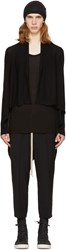 Rick Owens Black Short Wrap Cardigan
