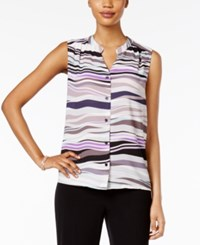 Nine West Sleeveless Printed Blouse Silver Multi