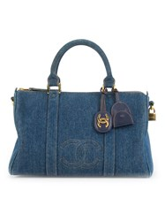 Chanel Vintage Denim Cc Boston Bag Blue