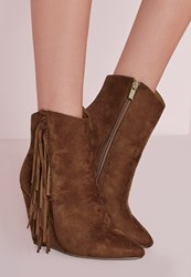 Missguided Tassel Side Wedge Boots Tan Brown