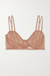 Lonely Rumi Lace Trimmed Embroidered Stretch Tulle Underwired Soft Cup Bra Taupe