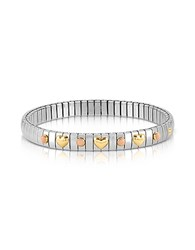 Nomination Stainless Steel Women's Bracelet W Golden Hearts And Coral Beads Silver