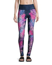 Nanette Lepore Play Paisley Print Wide Waist Leggings Purple Pattern