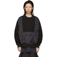 D.Gnak By Kang.D Black Vest Pocket Sweatshirt