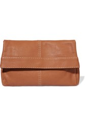 Michael Kors Collection Hutton Textured Leather Clutch Tan