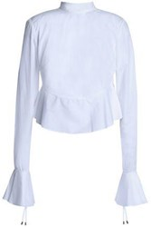 Michael Lo Sordo Fluted Lace Up Cotton Poplin Top White