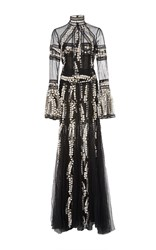 Costarellos Long Victorian Tulle Lace Dress Black