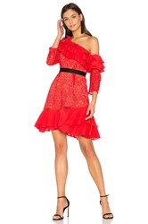 For Love And Lemons Chianti Off Shoulder Ruffle Dress Red