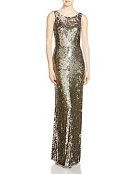 Parker Black Sleeveless Sequin Gown Silver
