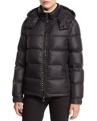Valentino Zip Front Rock Stud Nylon Puffer Jacket Black