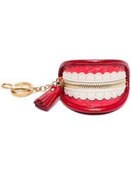 Anya Hindmarch Teeth Patent Leather Key Ring Coin Purse Red