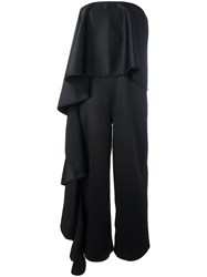 Solace Ruffled Satin Backed Crepe Gown Black