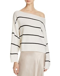 Vince Cashmere Boat Neck Sweater Off White Black