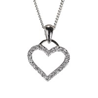 Nina B Sterling Silver Cubic Zirconia Heart Shaped Pendant Necklace