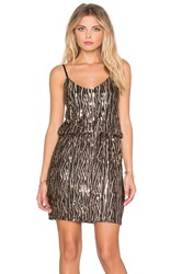 Oh My Love Stayin' Alive Sequin Dress Metallic Gold