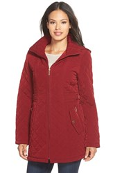 Petite Women's Gallery Hooded Quilted Coat Claret
