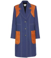 Coach Suede Trimmed Wool Coat Blue