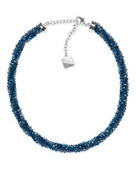 Anne Klein Beaded Collar Necklace Blue