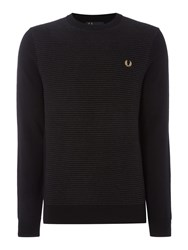 Fred Perry Men's Crew Neck Textured Rib Jumper Black