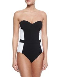 Tory Burch Lipsi Two Tone One Piece Swimsuit Black White