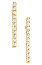 Jules Smith Designs Women's 'Micro' Pave Bar Stud Earrings Yellow Gold Clear