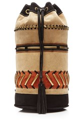 Alberta Ferretti Leather Suede Embellished Backpack Multicolor