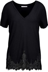 Tart Collections Daryl Lace Trimmed Stretch Modal Jersey Top Black