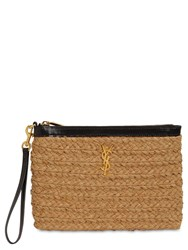 Saint Laurent Viscose And Leather Pouch Natureil