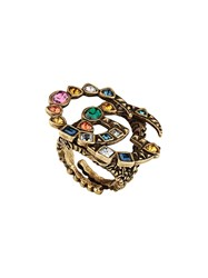 Gucci Crystal Double G Ring Gold