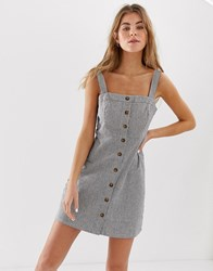 Hollister Pinstripe Button Down Dress Grey