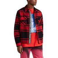 Off White C O Virgil Abloh Logo Checked Cotton Blend Flannel Shirt Red