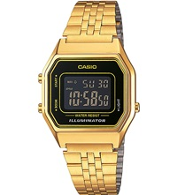 Casio Unisex Gold Plated Black Dial Digital Watch