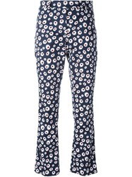 Incotex Printed Cropped Trousers Blue