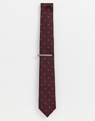 Burton Menswear Tie With Tie Bar In Burgundy Polka Dot Red