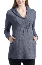 Kimi And Kai Women's Sadie Shawl Collar Maternity Sweatshirt Navy