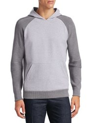 Loro Piana Ribbed Sleeve Colorblock Hoodie White Grey