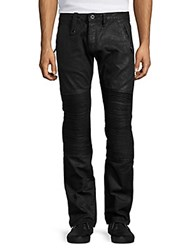 Cult Of Individuality Rebel Coated Moto Straight Leg Jeans Black
