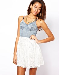 Motel Finch Dress With Denim Bustier And Lace Skirt White