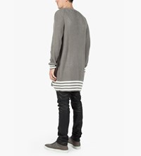 Munsoo Kwon Grey Hole Punch Long Cardigan
