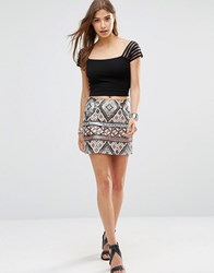 Wyldr Keep It Together Sequin Skirt Brown Multi