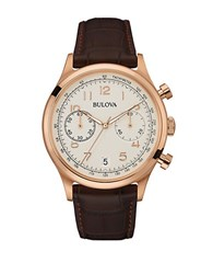 Bulova Vintage Leather Strap Watch Brown