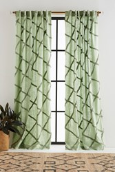 Anthropologie Embroidered Berea Curtain Moss