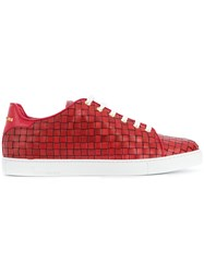 Billionaire Forster Low Top Sneakers Leather Rubber Red