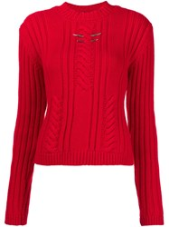 Thierry Mugler Chest Metallic Detail Pullover Red