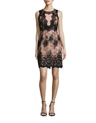 Ivanka Trump Lace Topped Sleeveless Sheath Dress Nude Black