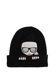 Karl Lagerfeld Embroidered Wool Blend Knit Beanie Black
