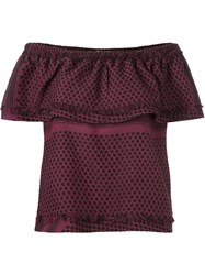Cecilie Copenhagen 'Style' Multi Pattern Strapless Blouse Pink And Purple