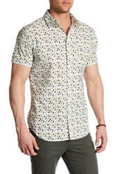 Straight Faded Tropical Fruit Modern Fit Short Sleeve Print Shirt Green