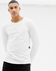 Tom Tailor 100 Cotton Long Sleeve Knitted Top In With Pocket In White