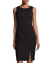 Muse Front Slit Sleeveless Textured Dress Black
